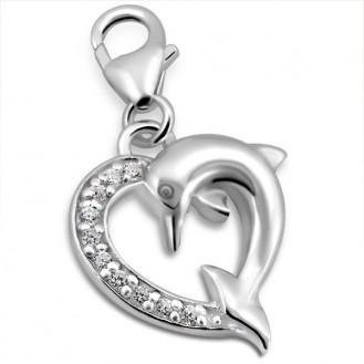 """Stříbrný přívěsek se zirkony na náramek  """"Delfíní láska"""". Ag 925/1000"""